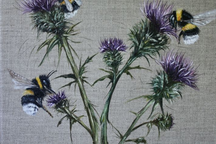 Busy Buzzy Bees (on linen)